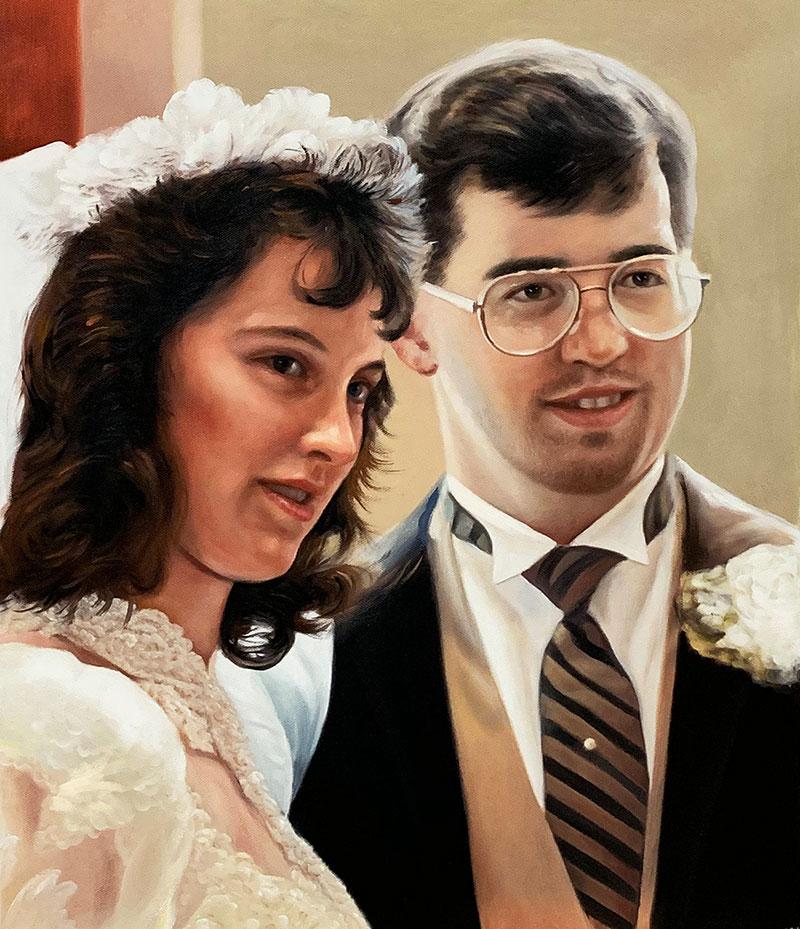 Beautiful vintage wedding portrait of a couple