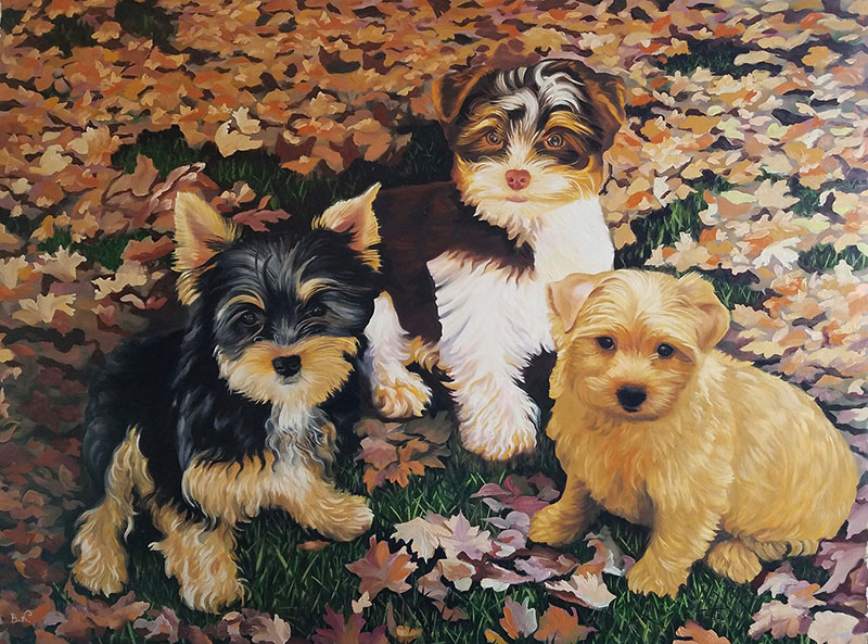 Beautiful oil painting of three puppies