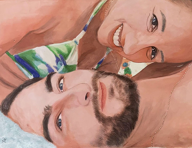 Beautiful color pencil painting of a smiling couple
