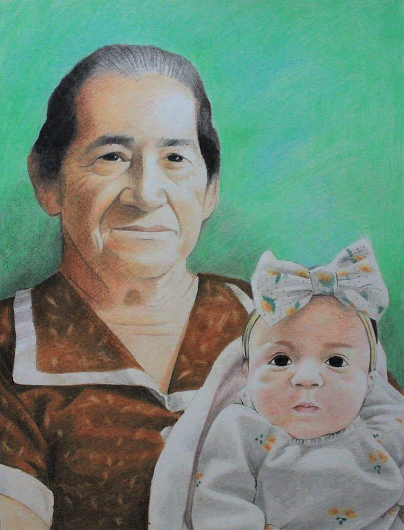 Beautiful color pencil painting of a woman with a baby