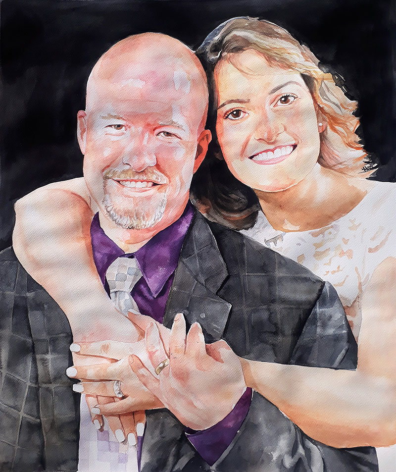 custom watercolor painting of woman with arm around man
