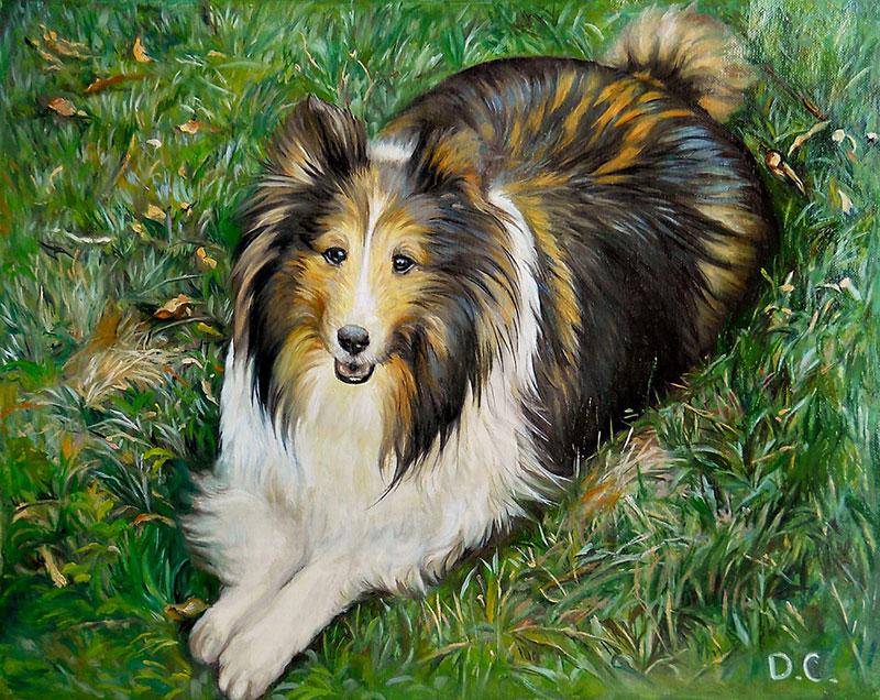 a handmade oil painting of longhair border collie