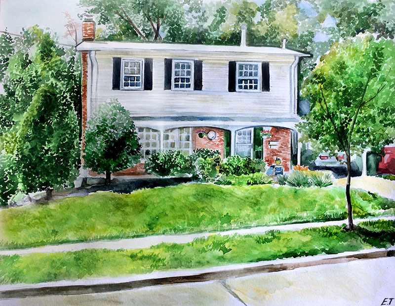 custom watercolor painting of a small white house with car