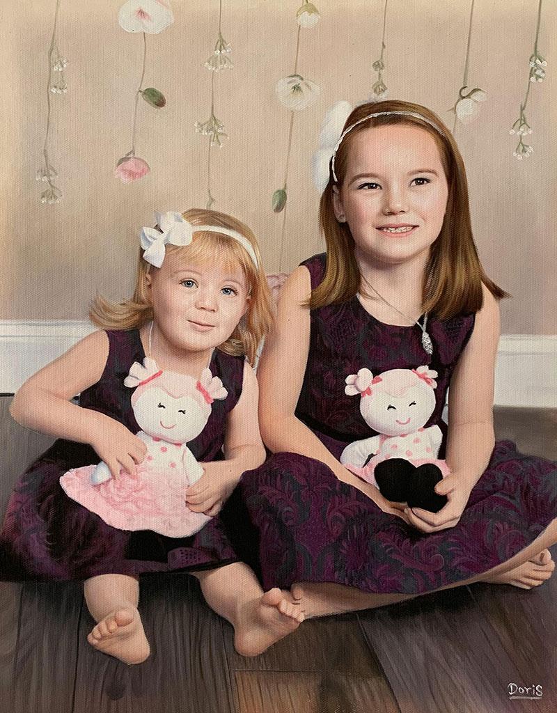 Custom oil painting of two little girls