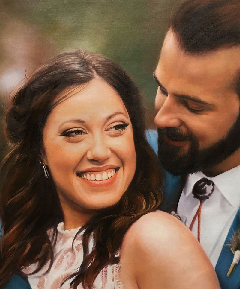 photo to oil painting of happy woman and happy man
