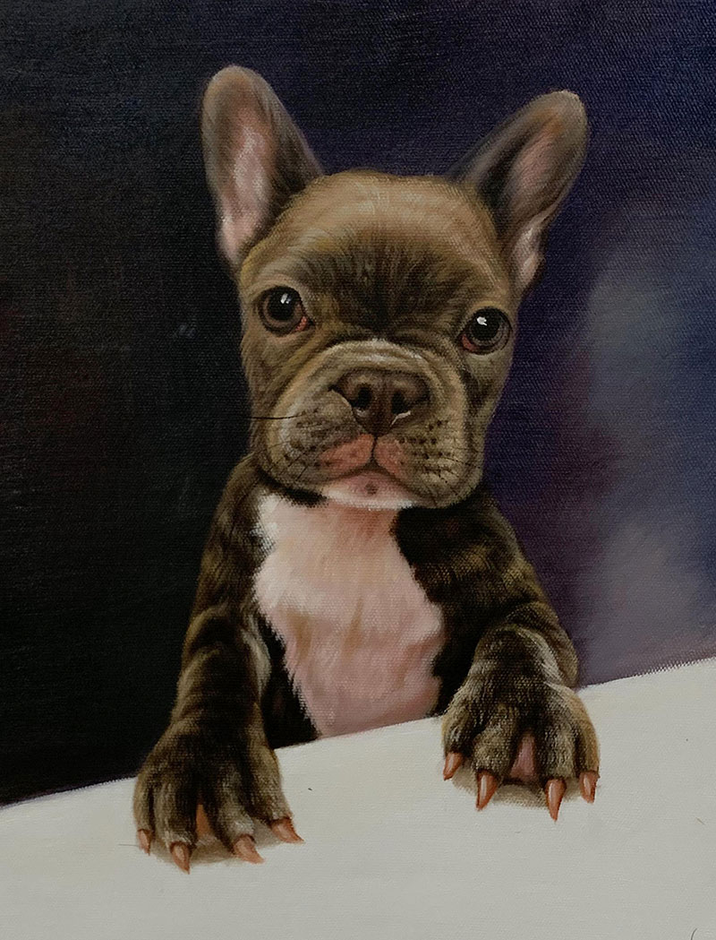 Custom oil painting of a dog