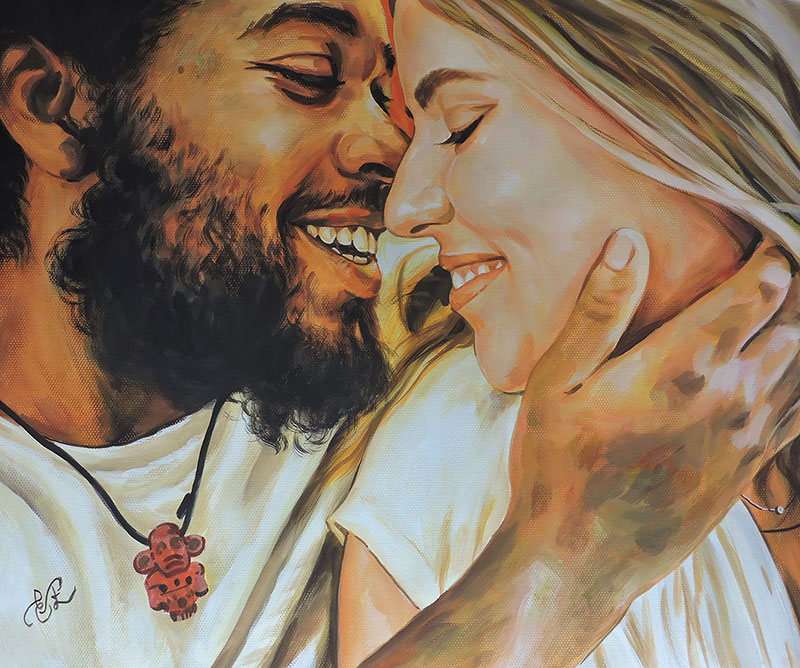 cute pastel portrait of a couple