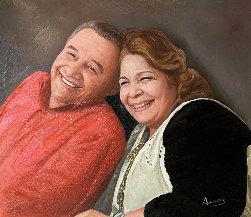 Gorgeous acrylic painting of a happy couple