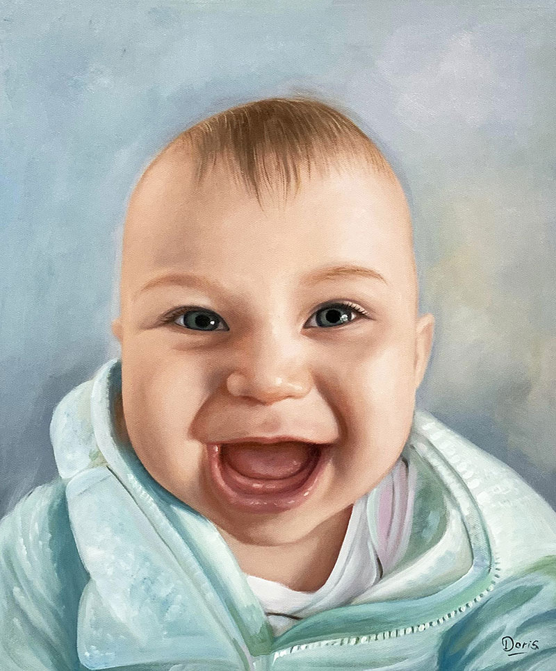 Close up oil portrait of a smiling baby