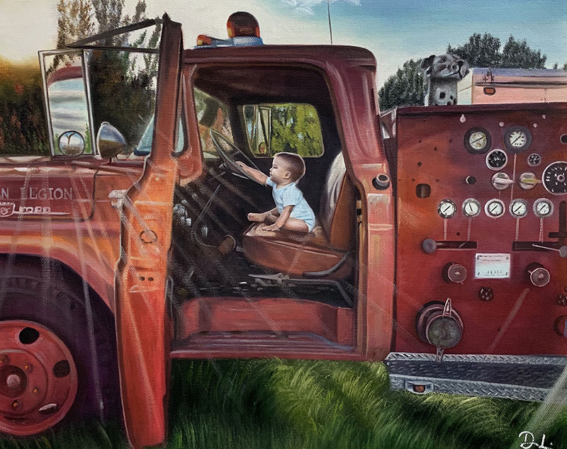a custom oil painting of a child in a car