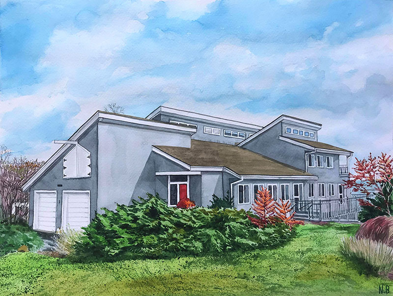 custom watercolor painting blue mansion by lakeside