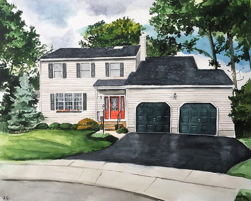 custom watercolor painting of white house with black roof