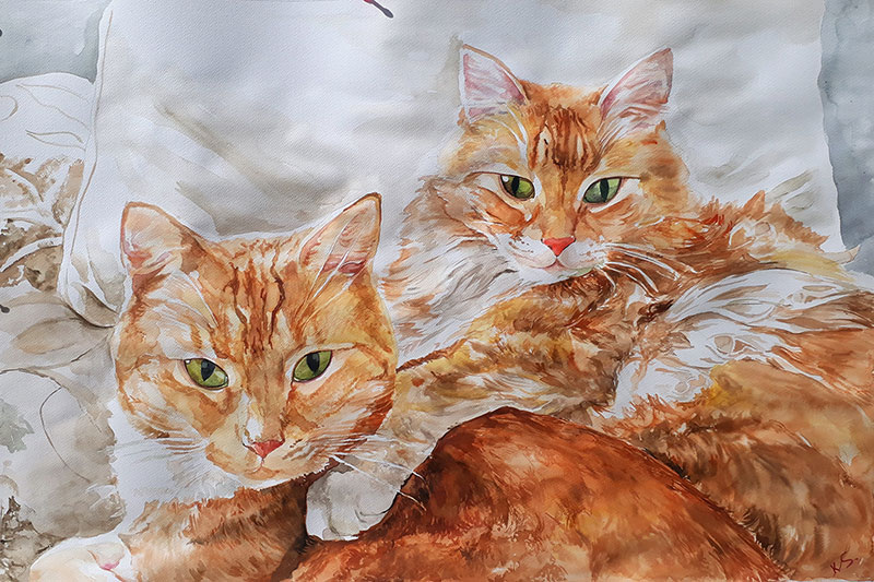 watercolor painting of two orange haired cats