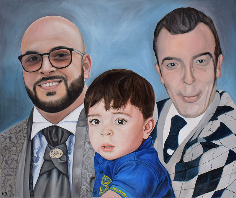 an oil painting of family generations