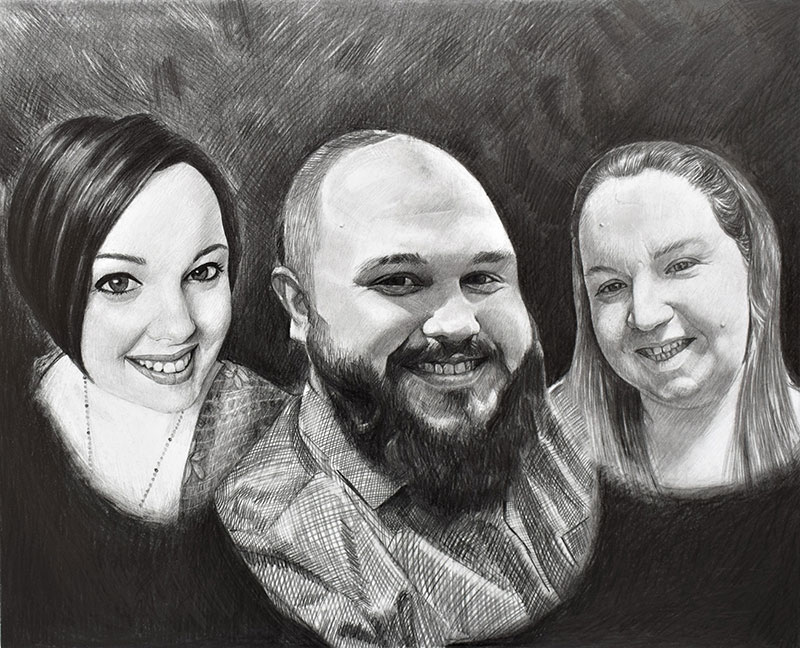 Custom black pencil drawing of a family