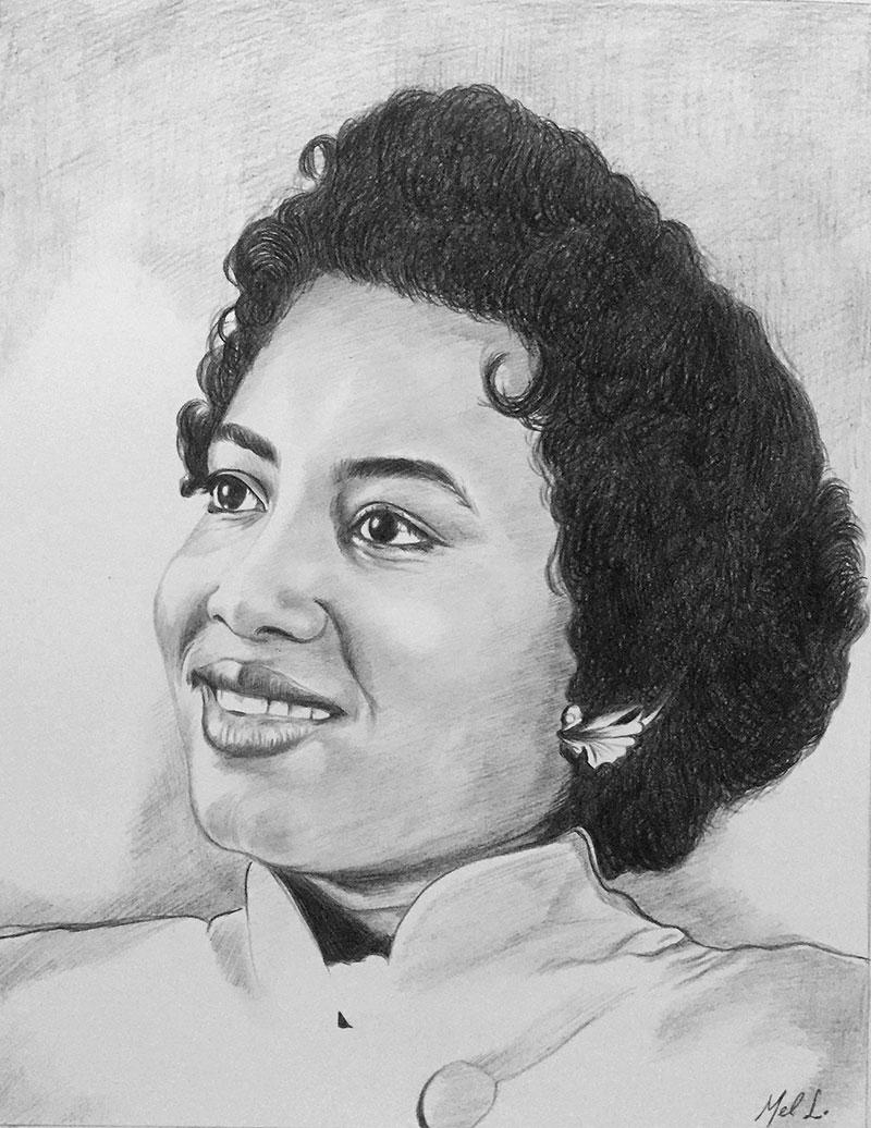 Custom black pencil drawing of a lady