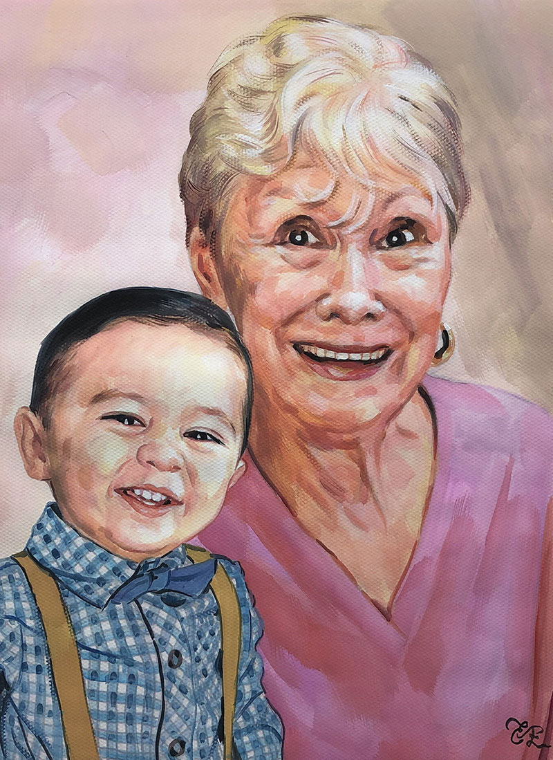 Beautiful pastel painting of a grandmother and a grandchild