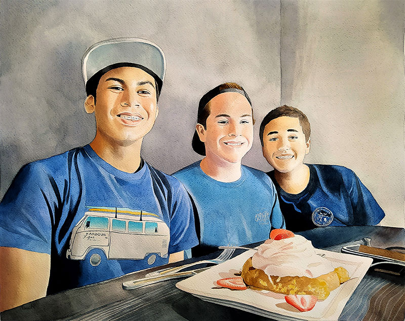Custom watercolor painting of the three friends