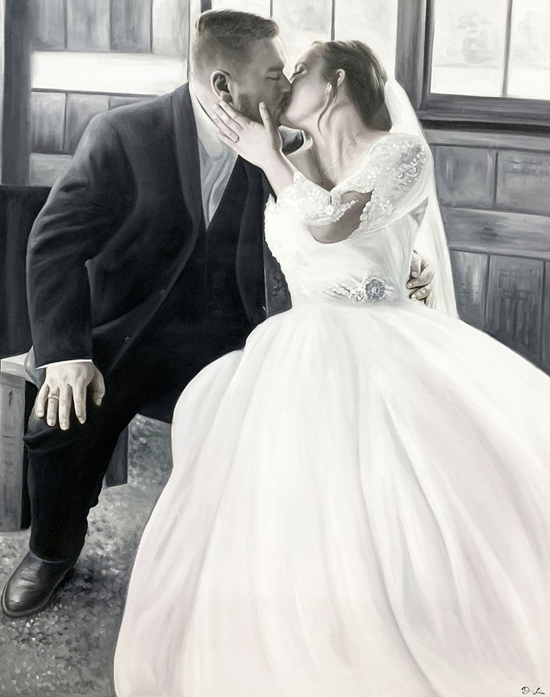 Gorgeous acrylic painting of a just married couple