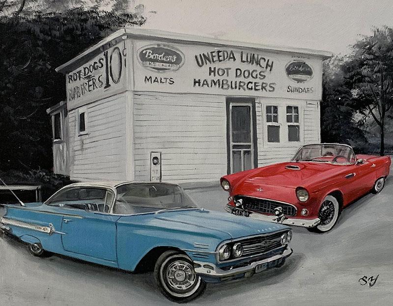 Custom handmade oil painting of two cars