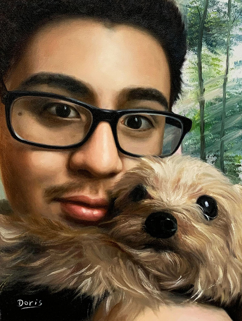 Personalized oil artwork of an adult and pet