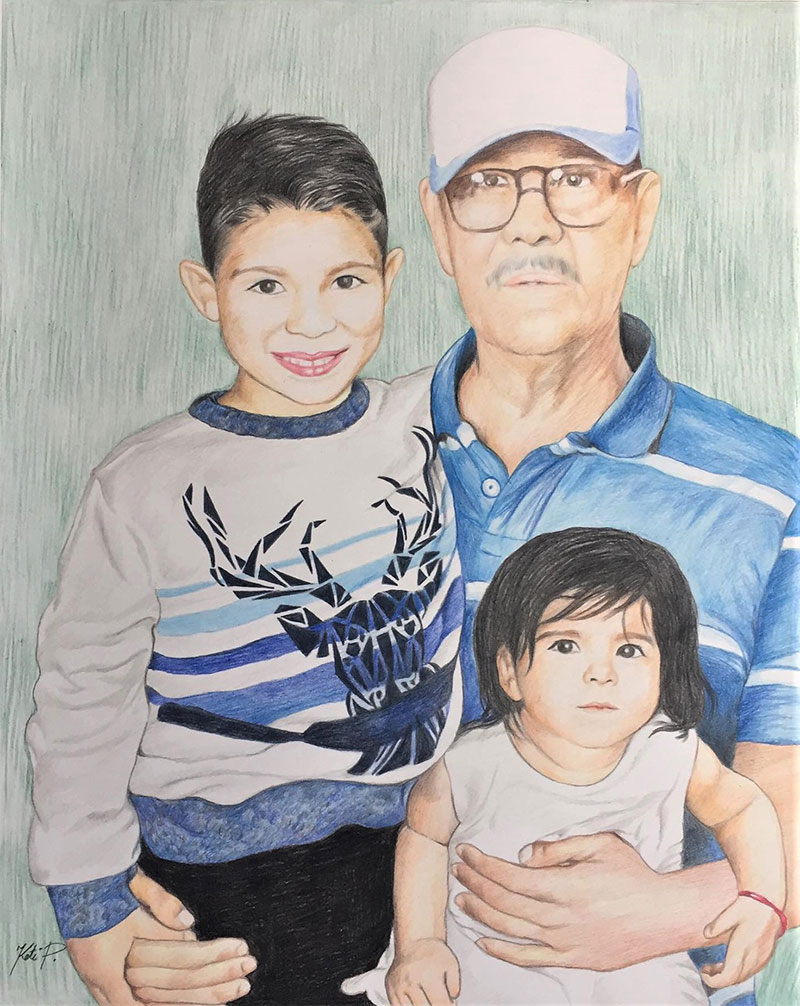 Beautiful color pencil artwork of a grandfather and children