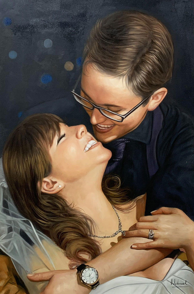 Gorgeous handmade acrylic painting of a loving couple