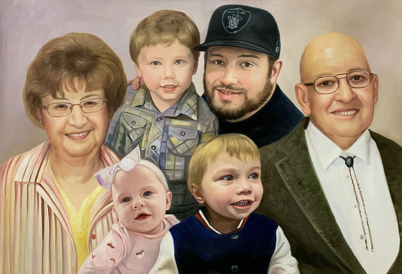 Beautiful handmade oil painting of a happy family