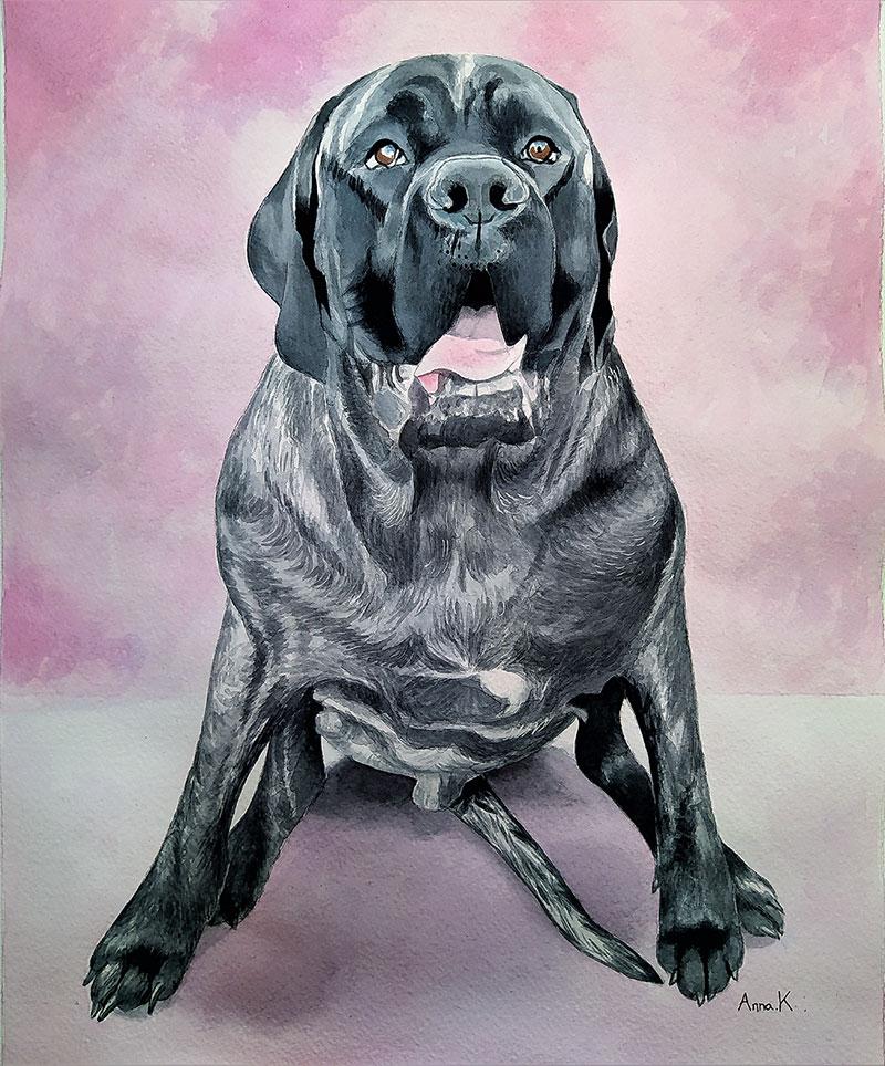 Beautiful handmade watercolor painting of a dog