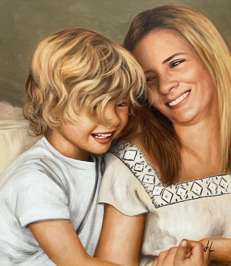 Gorgeous handmade acrylic painting of a mother and son