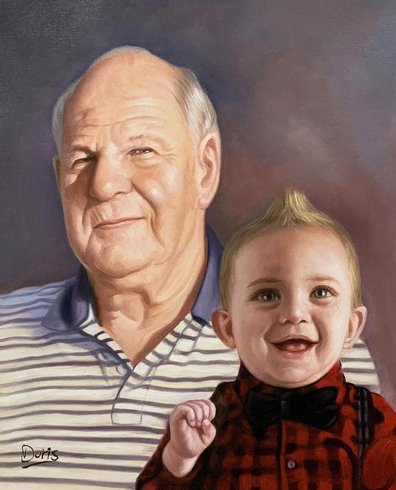 Custom oil artwork of a grandfather and a grandson