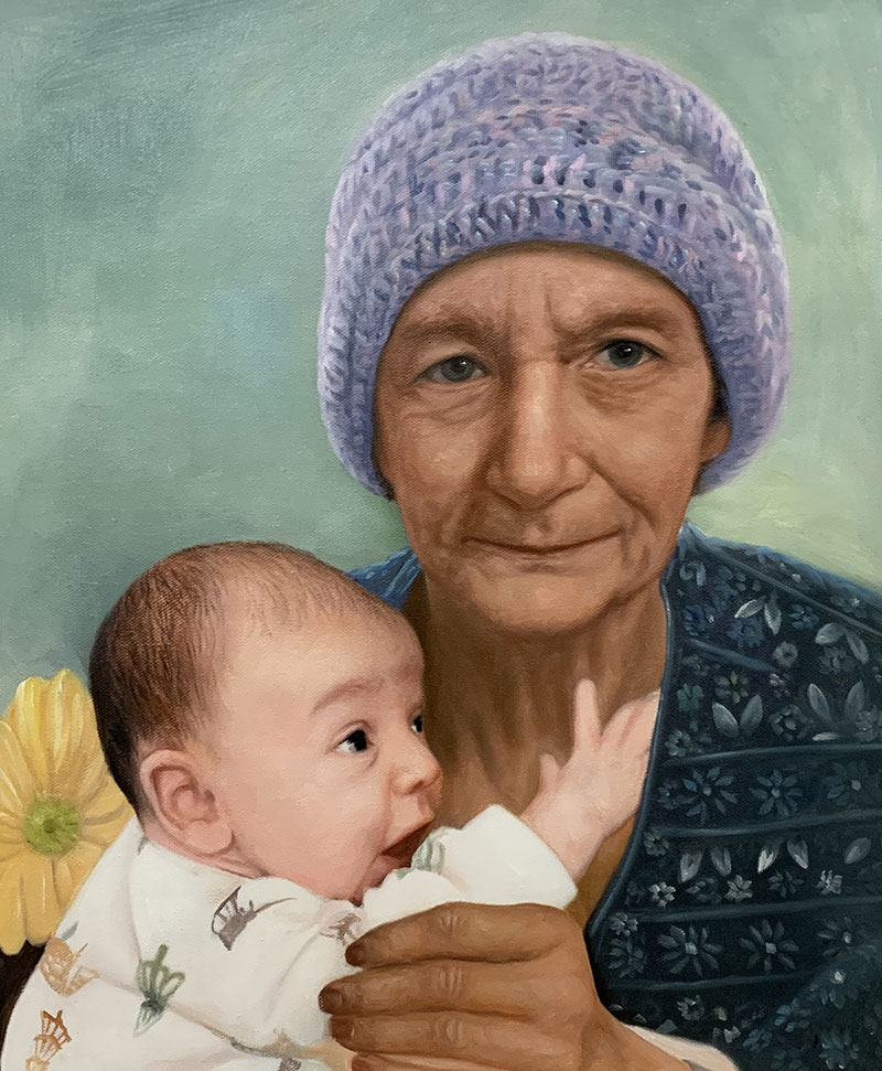 Personalized oil artwork of a grandmother and a grandchild