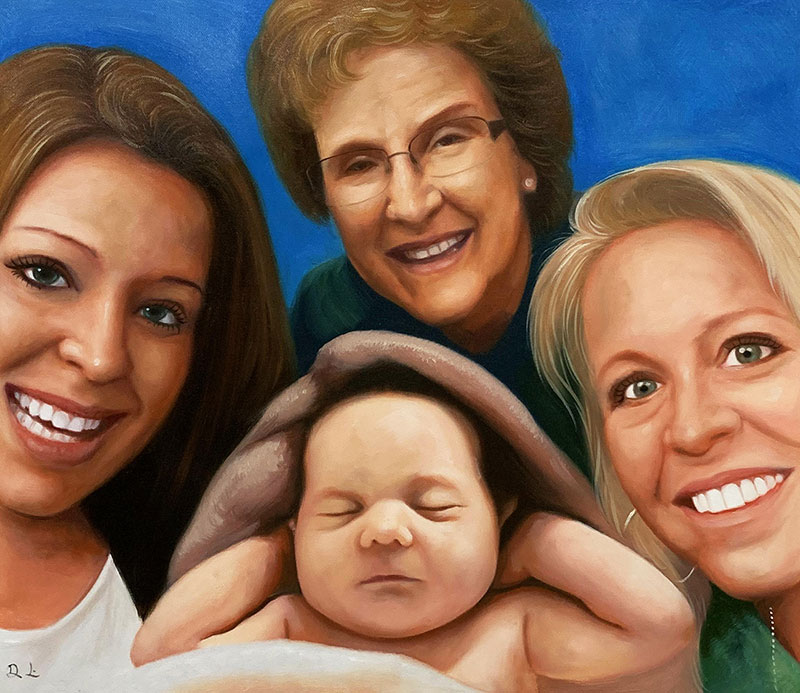 Beautiful oil artwork of a family with a solid background
