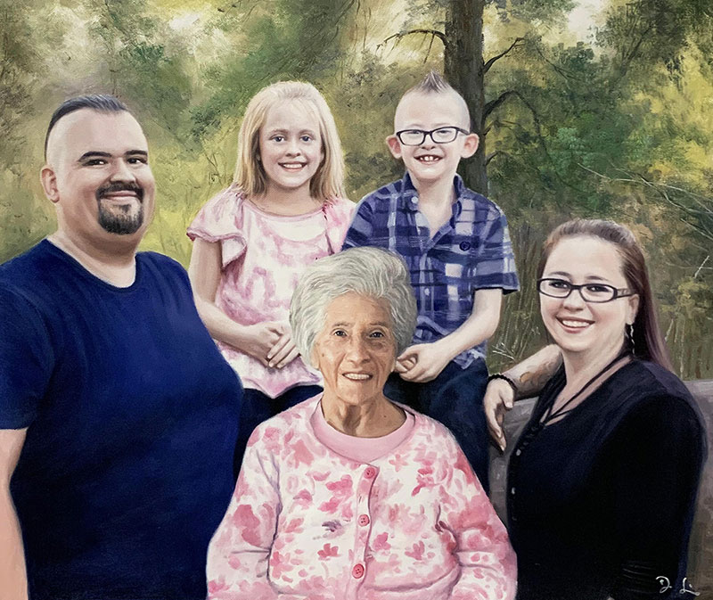 Personalized handmade oil artwork of a family