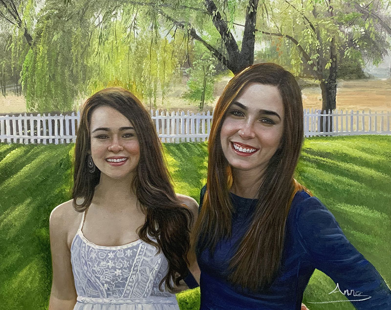 Beautiful hand drawn oil painting of the two friends