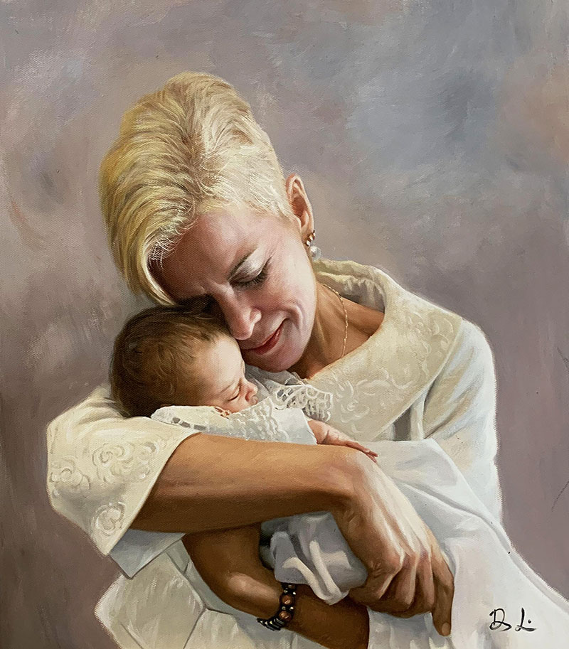 Gorgeous oil artwork of a mother and a daughter