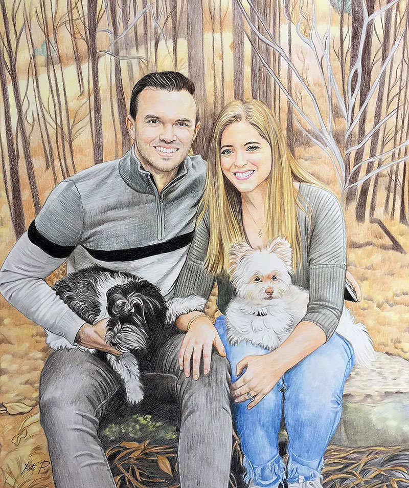 Beautiful color pencil painting of a couple with pets
