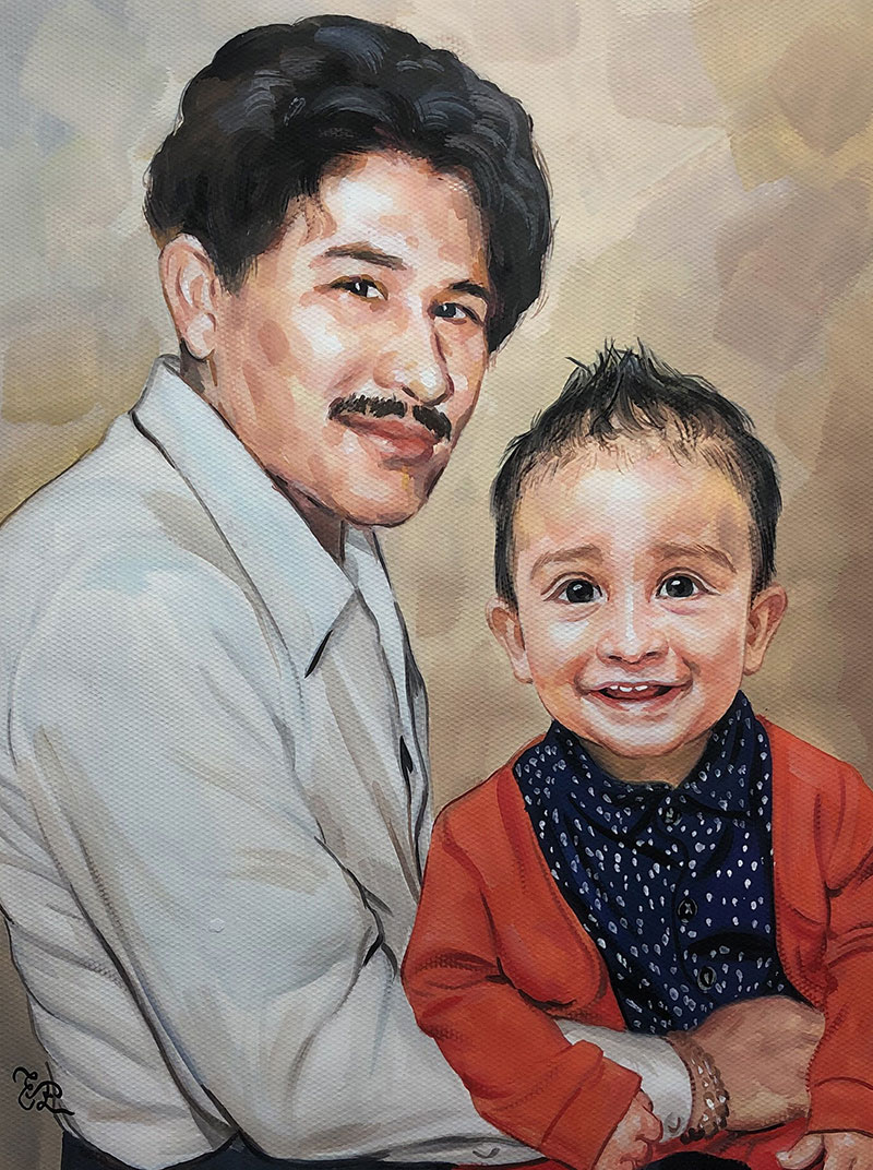 Gorgeous handmade pastel artwork of a father and son