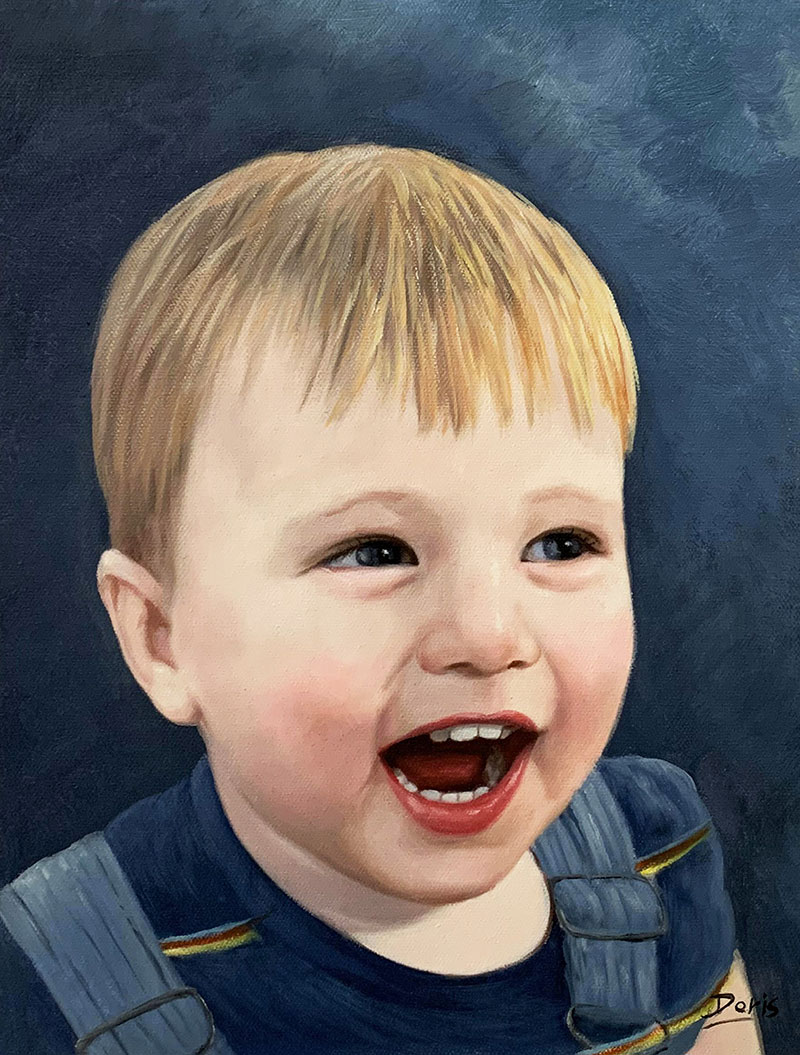 Beautiful oil portrait of a little boy