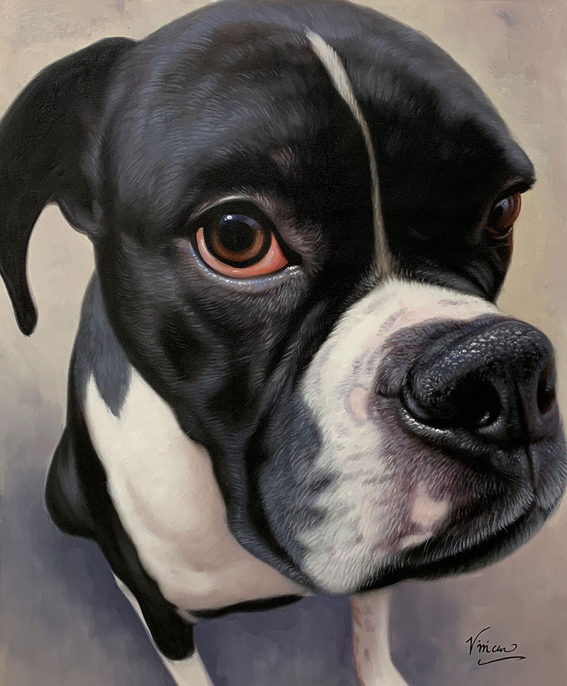 Custom handmade close up acrylic artwork of a dog