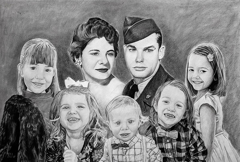 Custom vintage charcoal family portrait of seven people