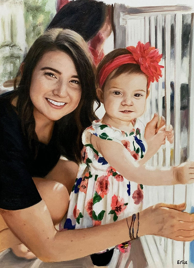 Beautiful oil artwork of a mother and daughter