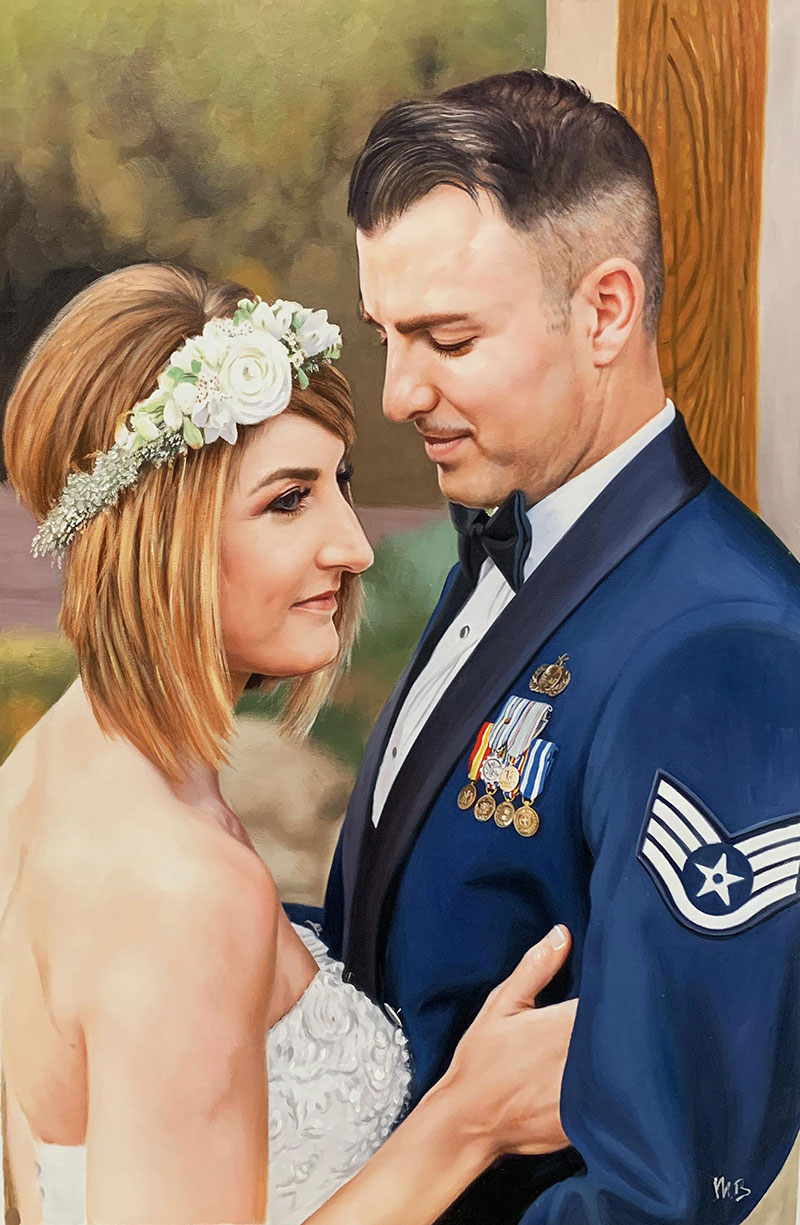 Gorgeous handmade oil wedding portrait of a couple