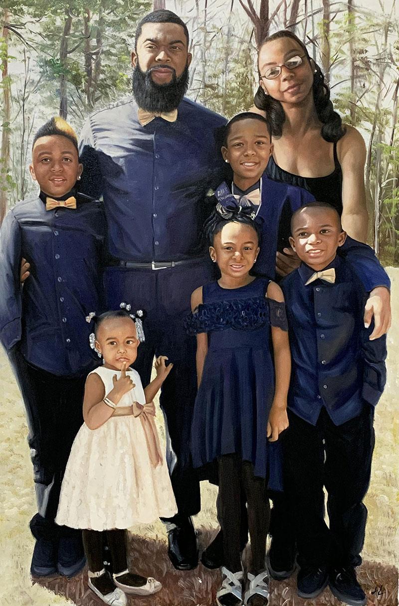 Beautiful handmade oil family portrait