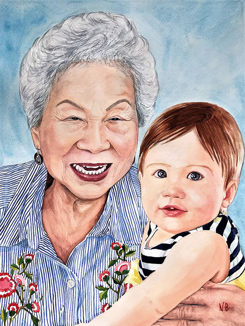 Personalized watercolor artwork of a grandmother and a baby