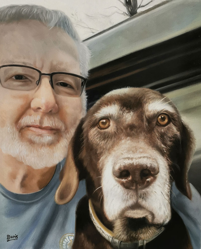Personalized oil portrait of a man with a pet