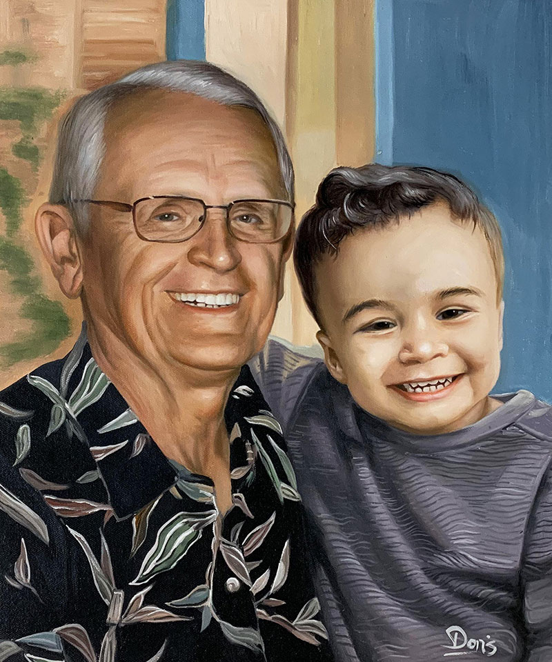 Beautiful handmade oil painting of a grandfather and child