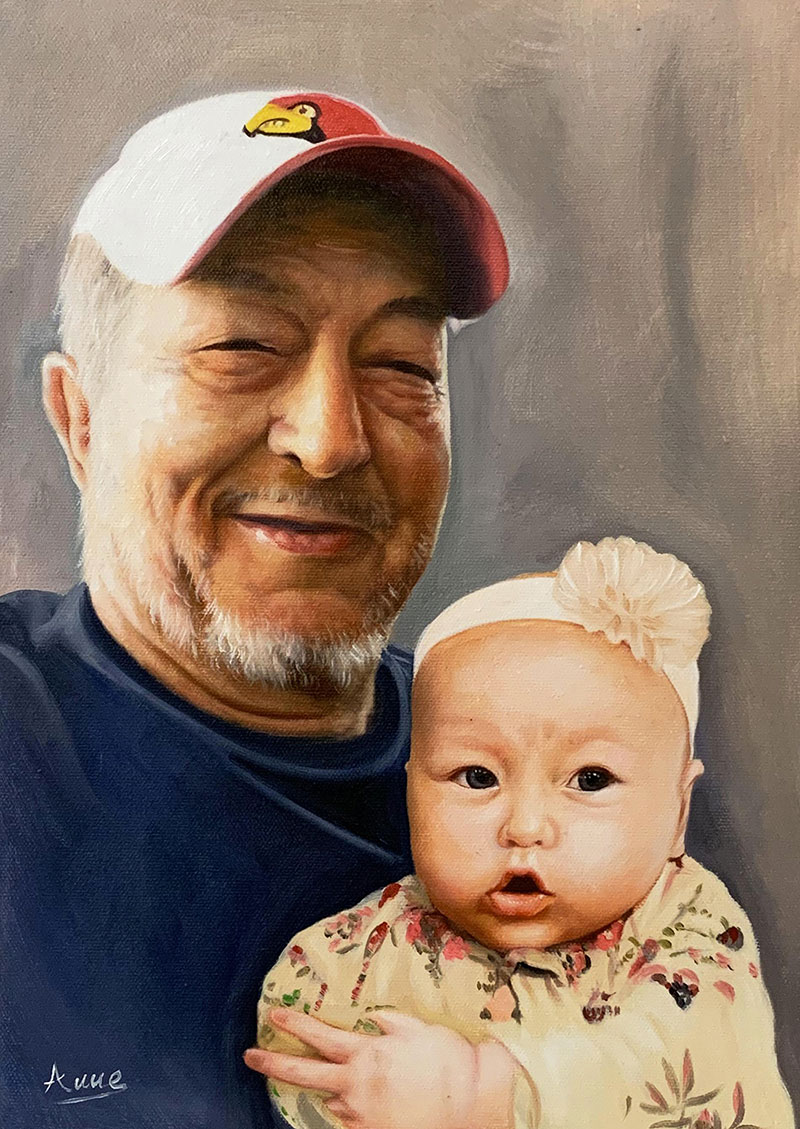 Custom acrylic painting of a grandfather and a grand kid