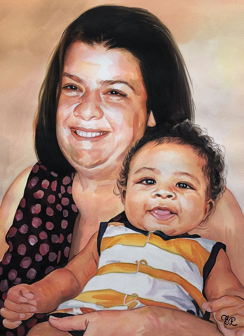 Gorgeous pastel painting of a mother and daughter