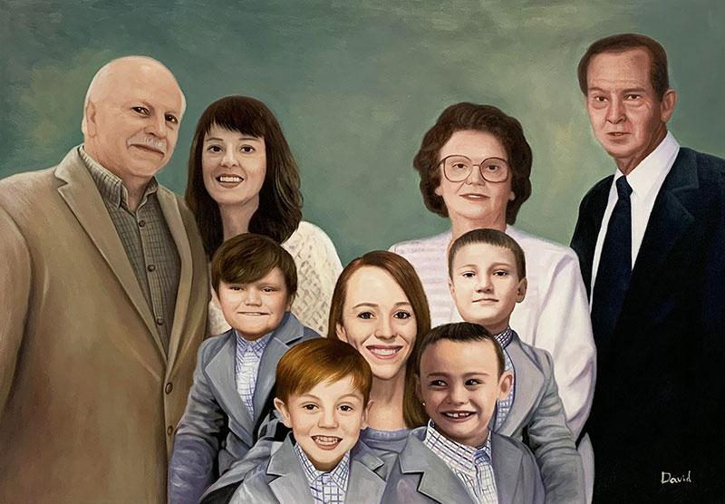 Custom acrylic family portrait of nine people